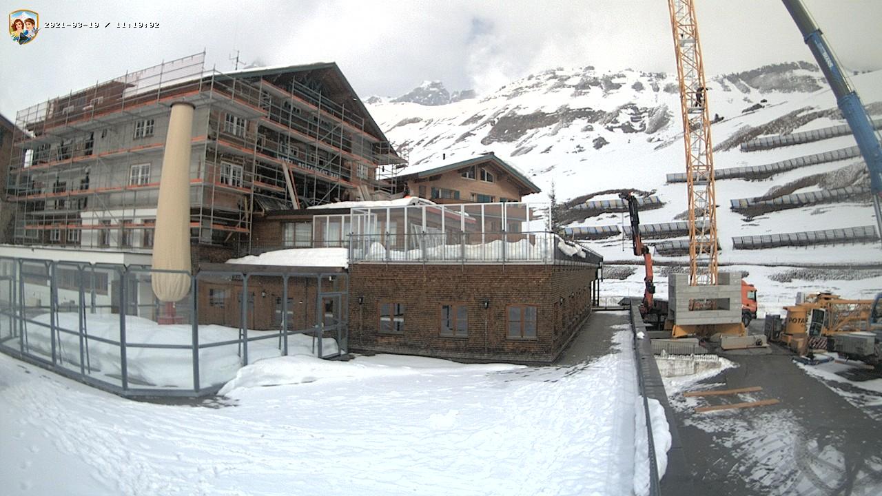 Jägeralp-Express Talstation 1.588m Blick von der Sonnenterasse des Familienhotels